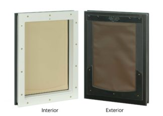 Interior/exterior view of large Freedom Pet Pass door-mounted pet door with chocolate-tan flap