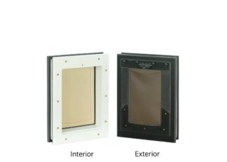 Interior/exterior view of small Freedom Pet Pass door-mounted pet door with chocolate/tan flap