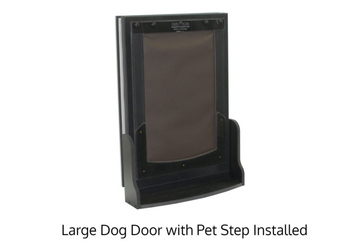Large Freedom Pet Pass dog door with Pet Step accessory