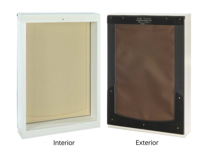 Interior/exterior view of large Freedom Pet Pass wall-mounted pet door with chocolate-tan flap