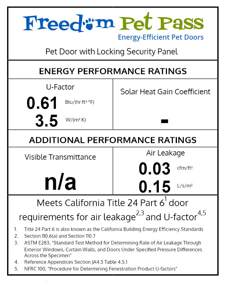 Freedom Pet Pass energy-efficiency specifications label
