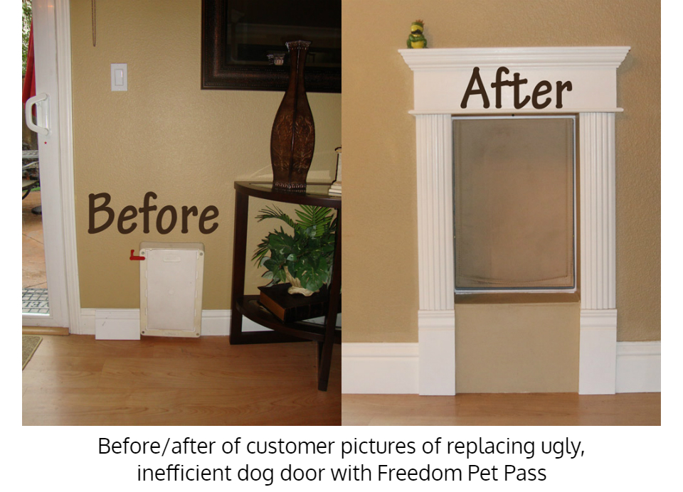 Before and after upgrade to Freedom Pet Pass dog door for walls