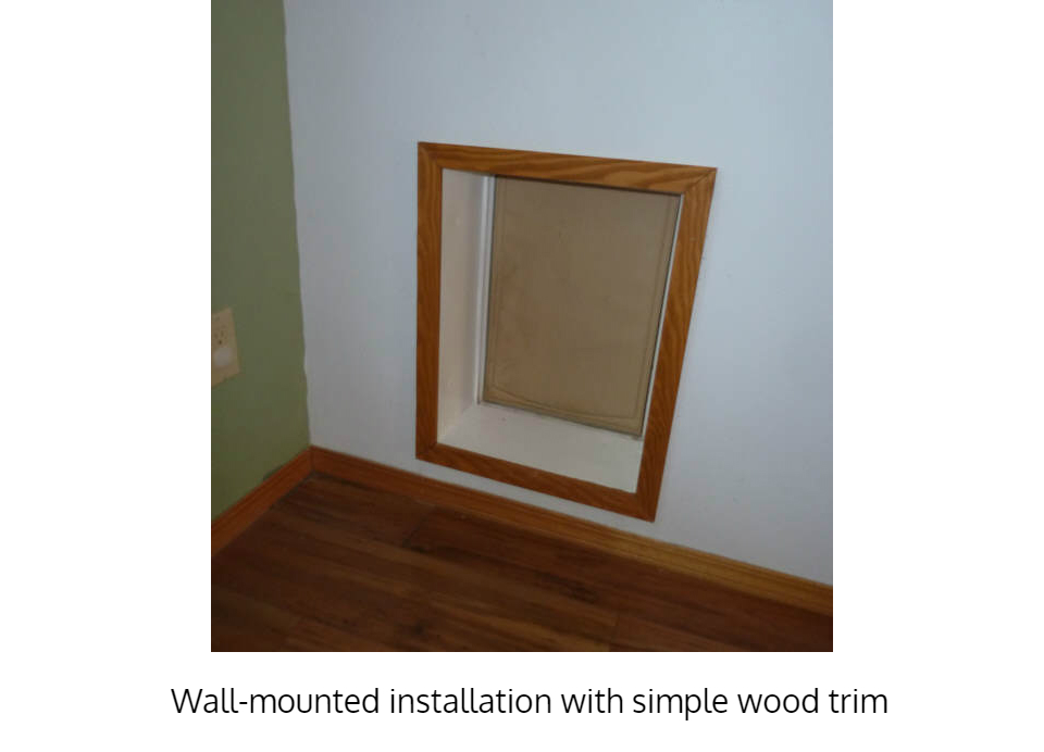Simple wood trim out of Freedom Pet Pass large dog door for walls