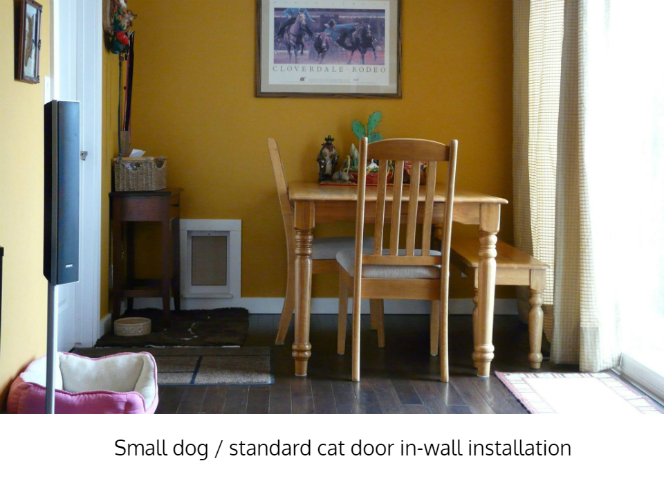 Freedom Pet Pass pet door for walls, trimmed out to match room interior