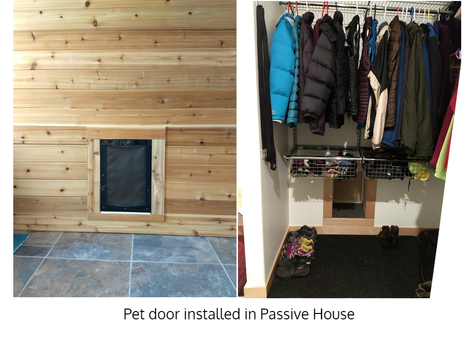 Passive House pet door installation through wall