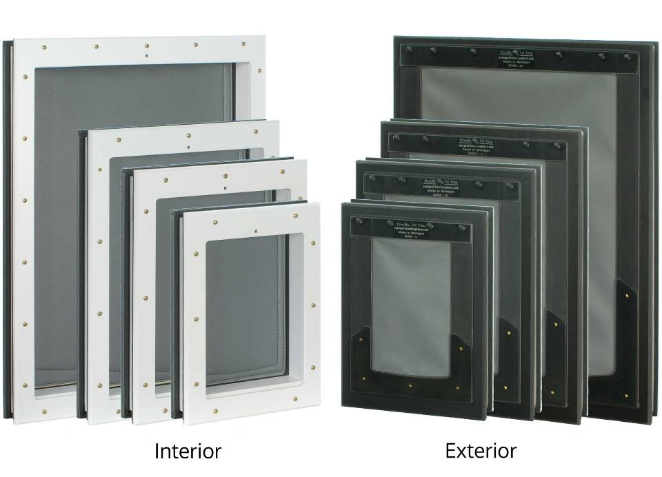 Size comparison of small, medium, large, and XL Freedom Pet Pass door-mounted pet doors