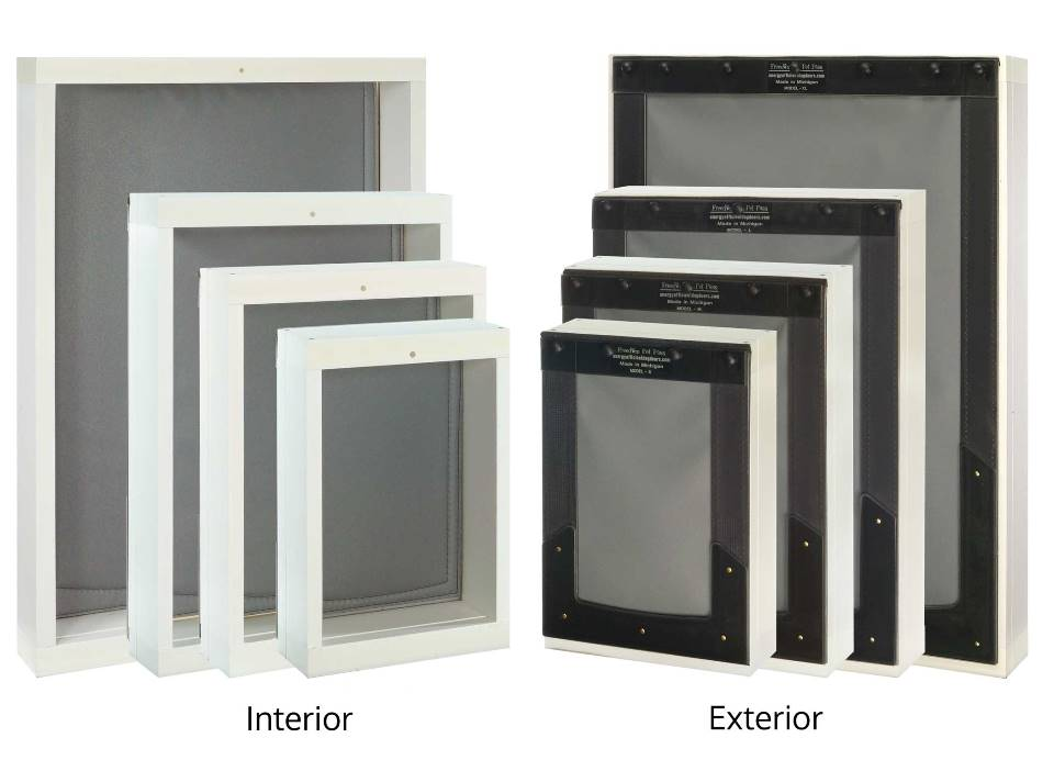 Size comparison of small, medium, large, and XL Freedom Pet Pass wall-mounted pet doors