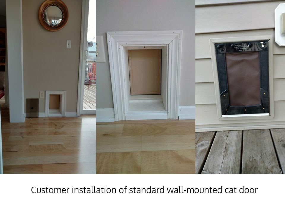 Freedom Pet Pass wall-mounted pet door installed, interior and exterior views
